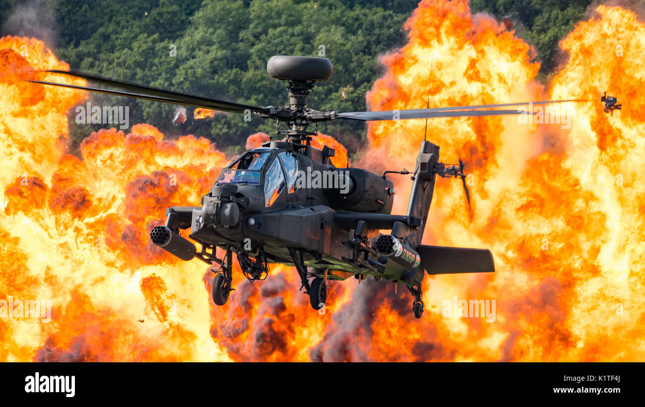 The British Army Air Corps Apache AH1 attack helicopter with Stock