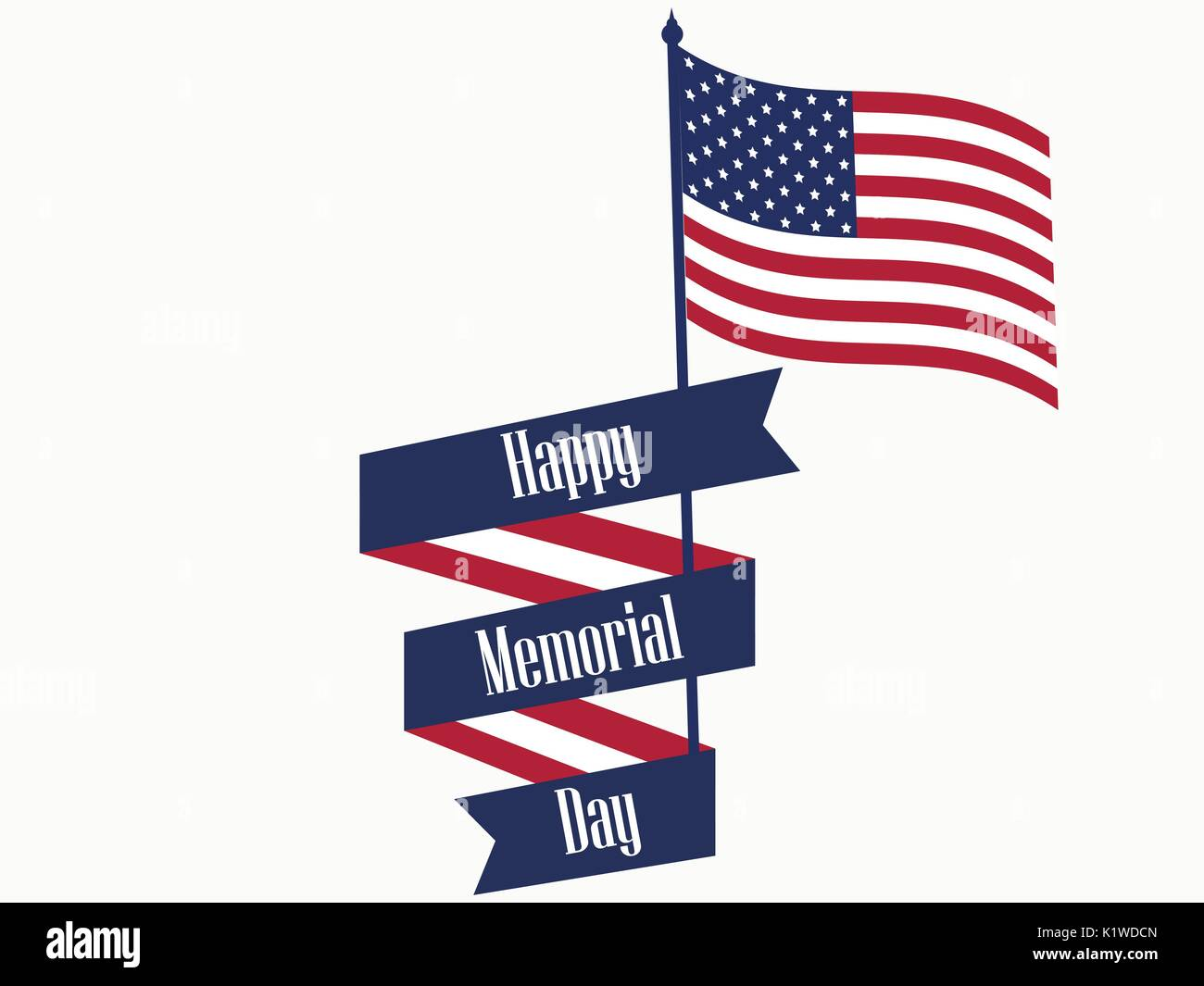 4ede2b129f29 Happy Memorial Day. Ribbon with text and american flag. Vector illustration