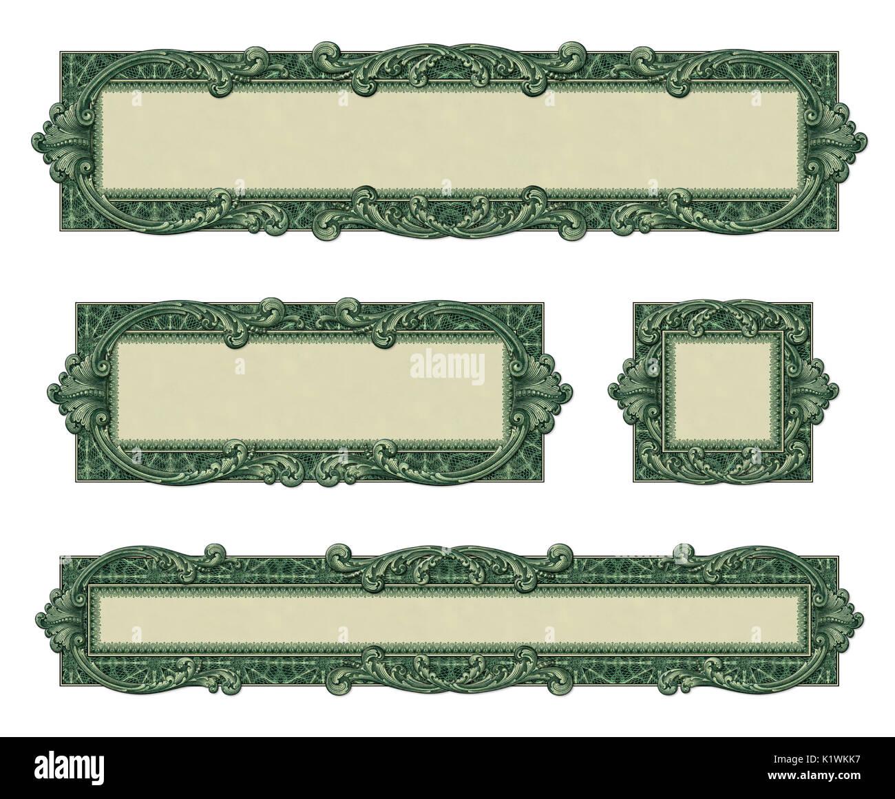 photo illustration of 4 bordersframes using elements from a dollar bill - Dollar Frames