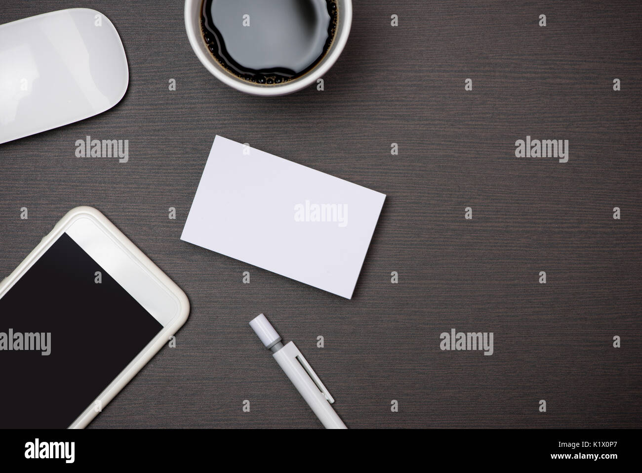 Business Card And Phone Blank Mockup Stock Photos & Business Card ...