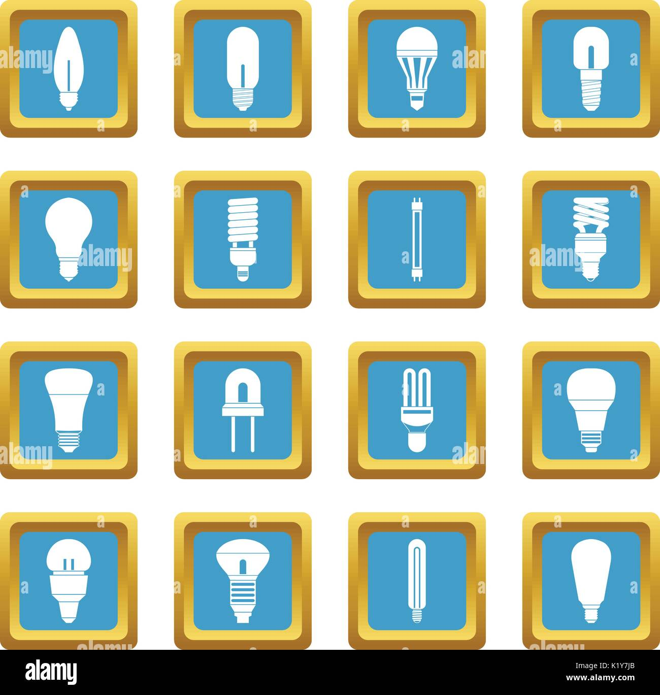 vector square blue icon lighting bulb. Light Bulb Icons Azure Vector Square Blue Icon Lighting N