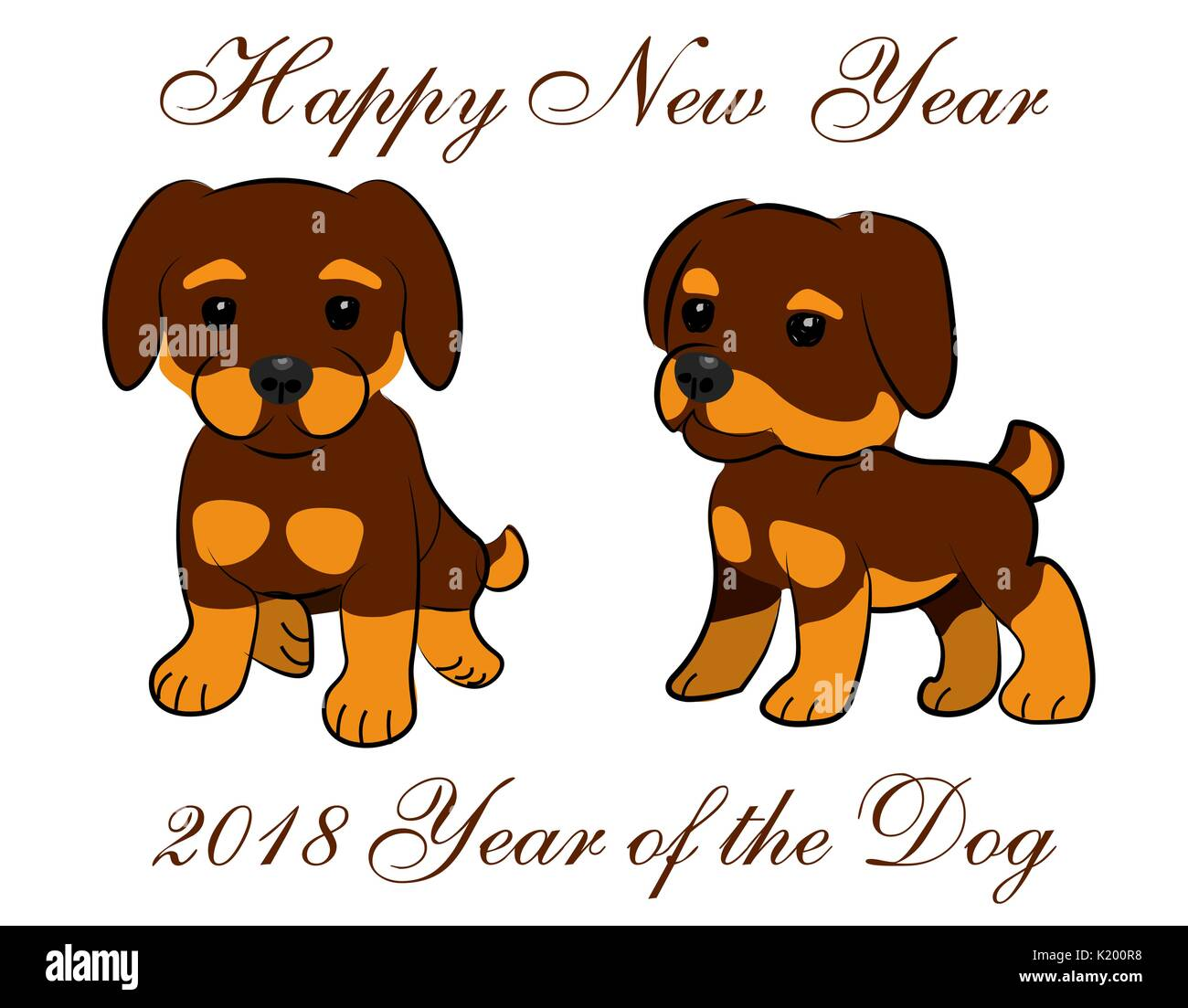 new year card 2018 year of the dog two animated puppies illustration