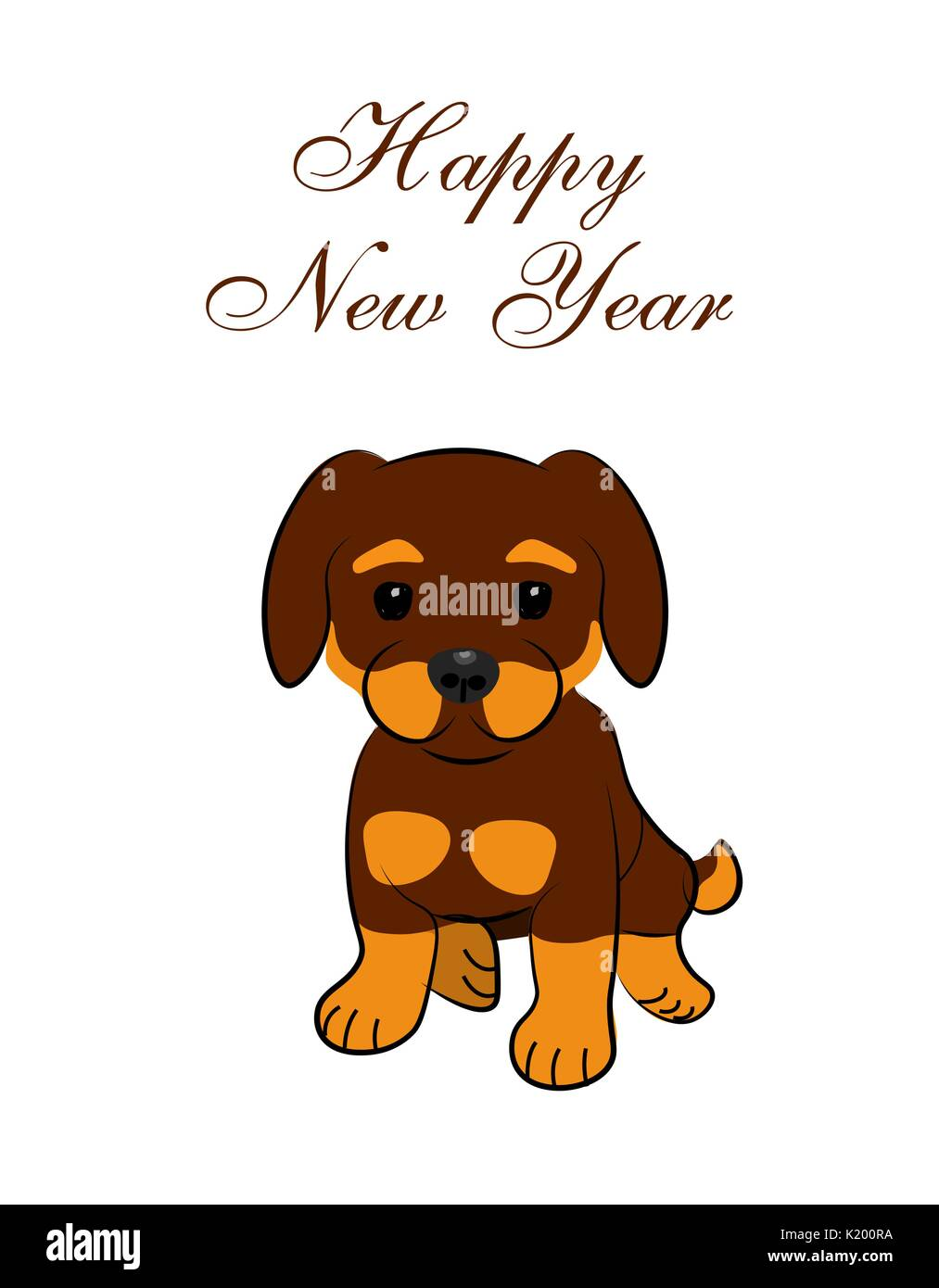 New Year card. 2018 year of the dog. Sitting animated puppy Stock ...