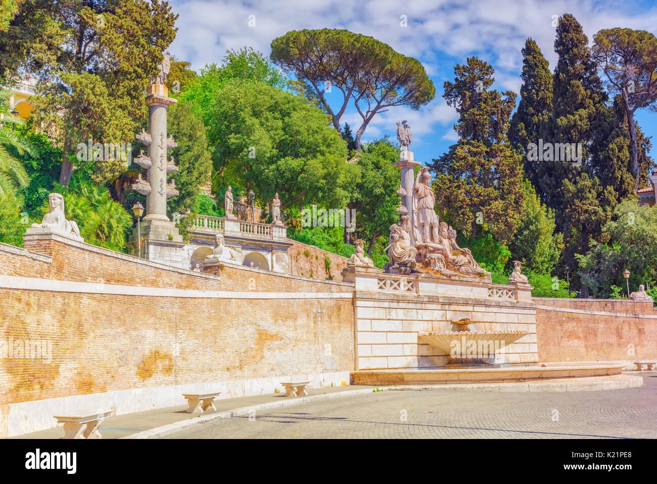 Fountain of Rome\'s Goddess and Terrace de Pincio (Terrazza del Stock ...