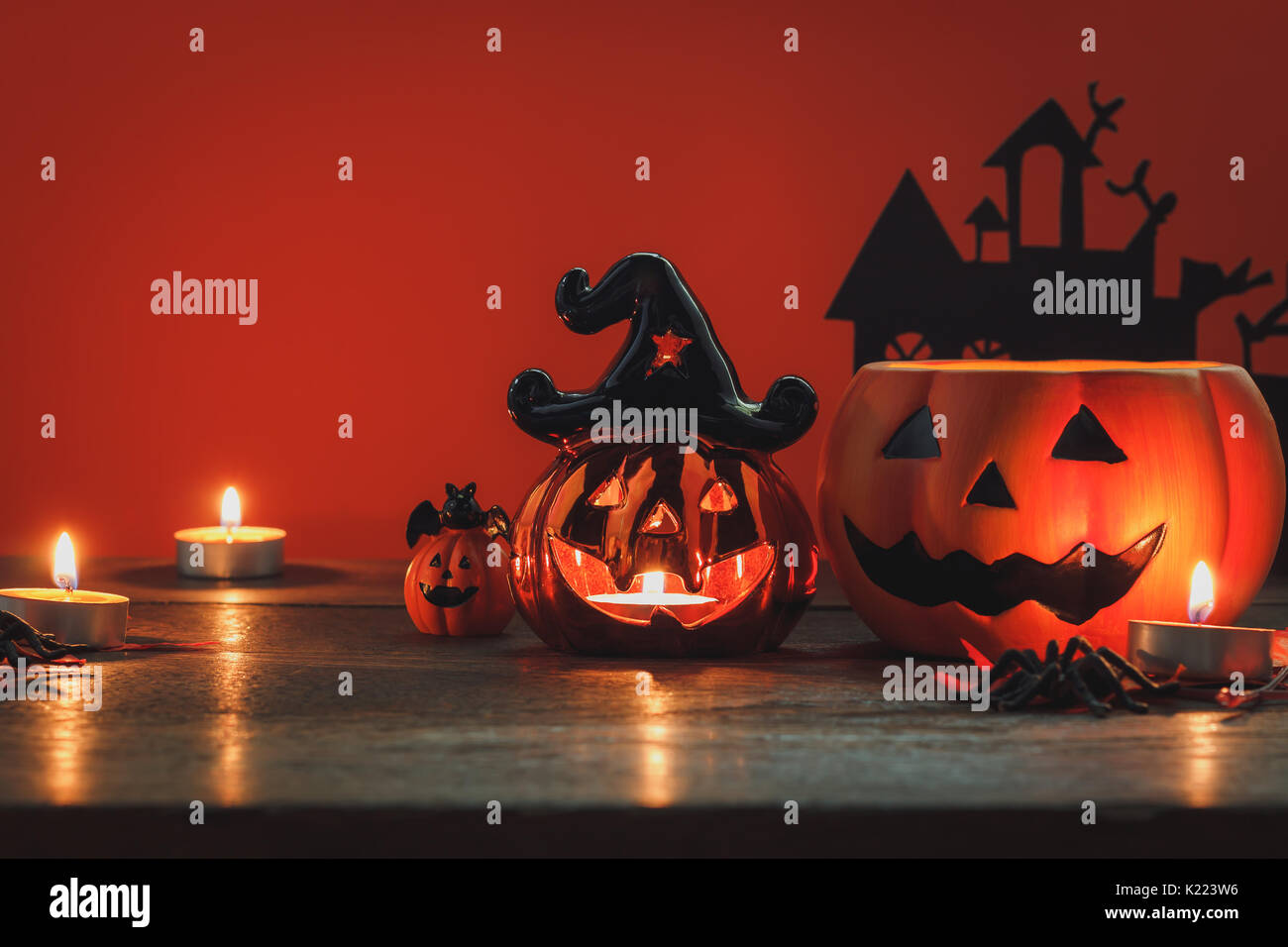 Sign And Decoration Of Happy Halloween Festival ConceptThe Object Mix Variety On Modern Rustic Wood Office Desk The Orange Wallpaper Backgroun