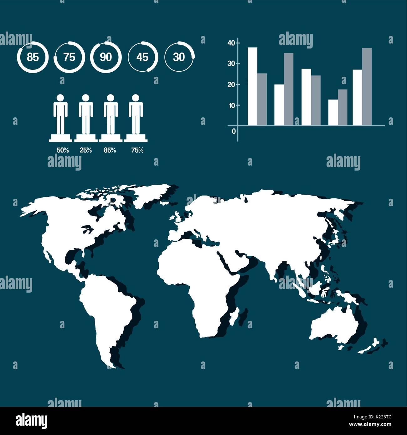 World map infographic demographic statistics presentation stock world map infographic demographic statistics presentation gumiabroncs Images