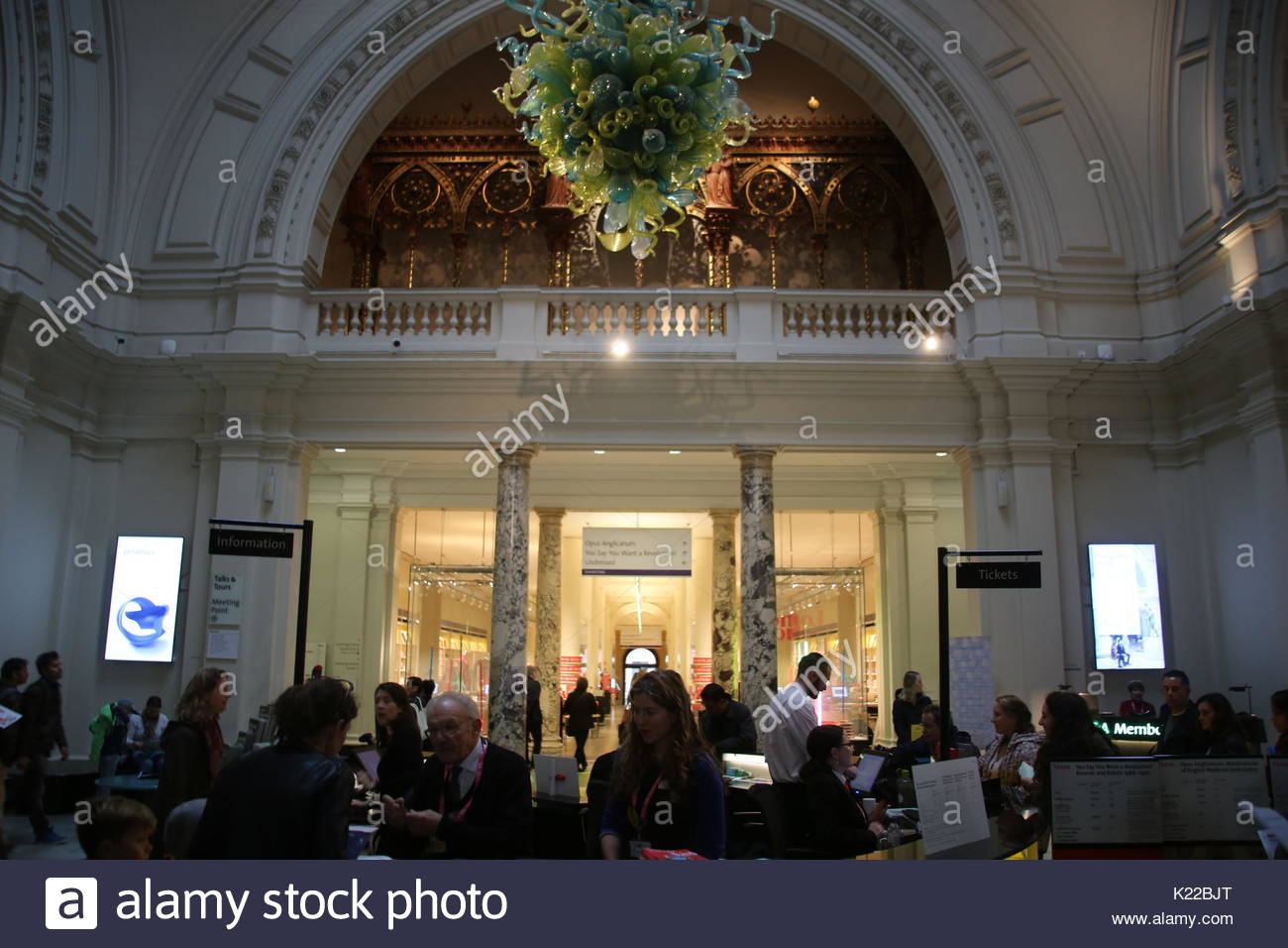 The information desk and rotunda chandelier inside of the victoria the information desk and rotunda chandelier inside of the victoria and albert museum on october 16 2016 in london great britain united kingdom arubaitofo Choice Image