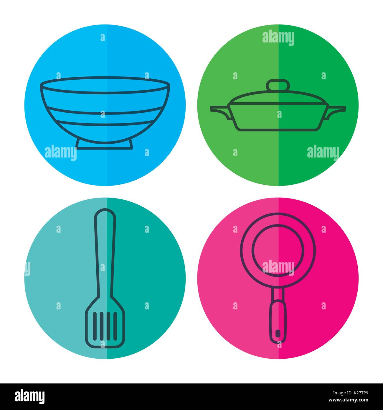 kitchen utensils related icons over colorful circles and white Stock ...