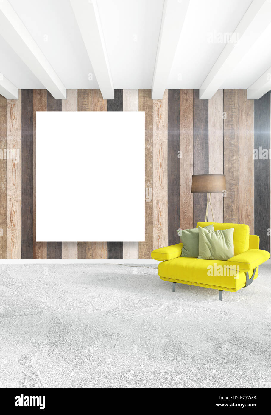White bedroom minimal style interior design with wood wall and grey sofa 3d rendering 3d illustration