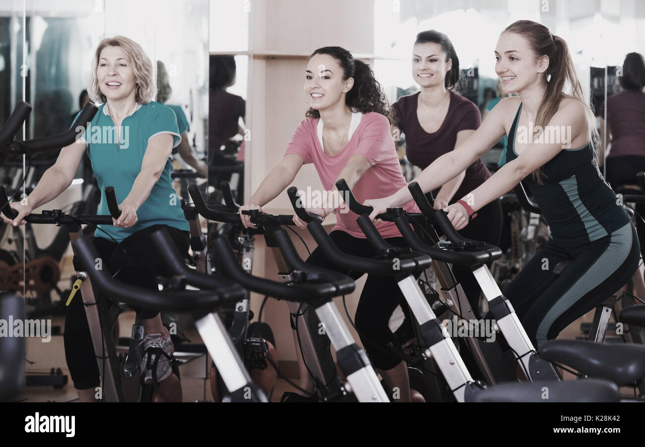 Positive Females Of Different Age Training On A Exercise Bikes