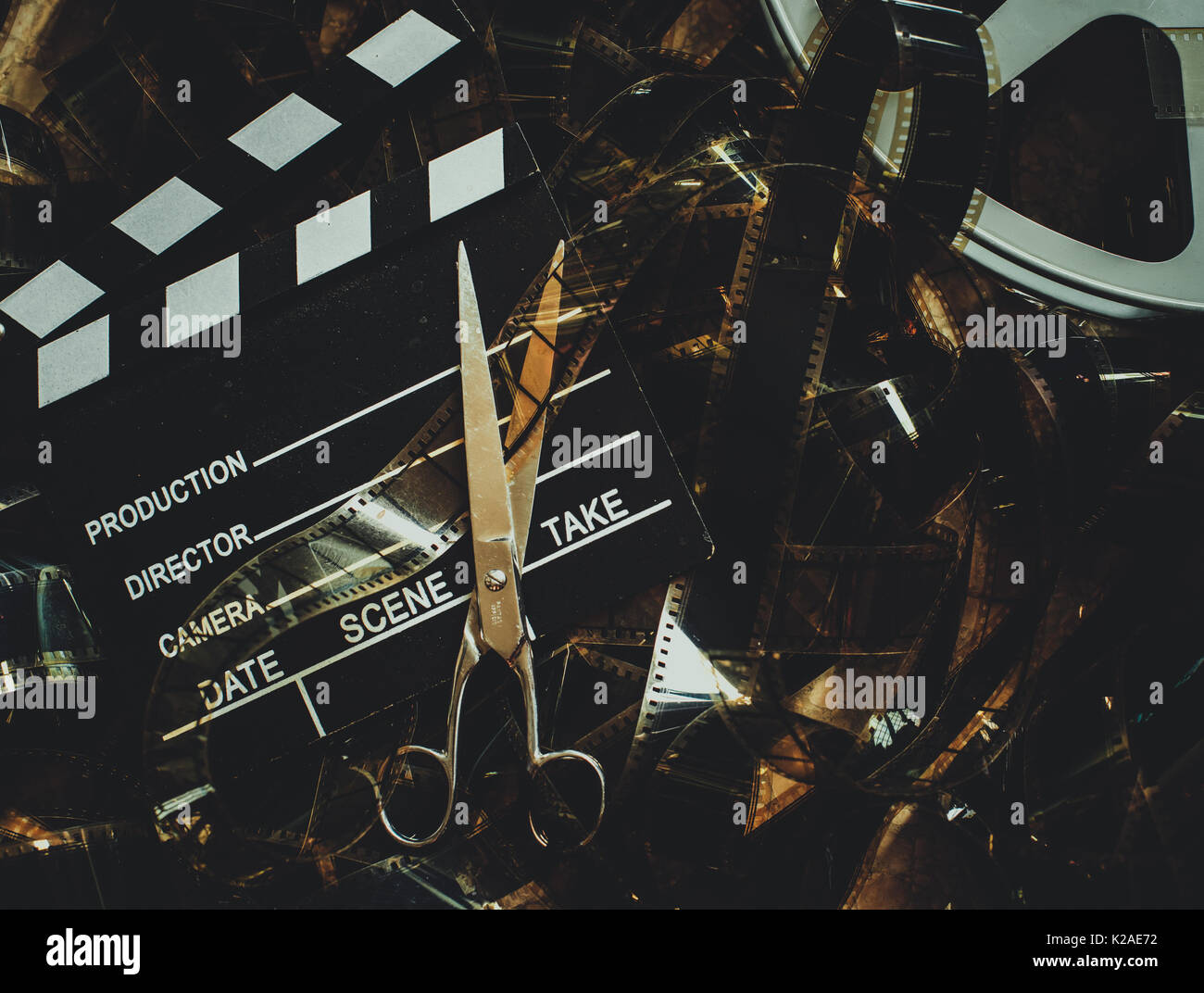 Vintage Movie Background In Cinematic Color Effect Unrolled 35mm