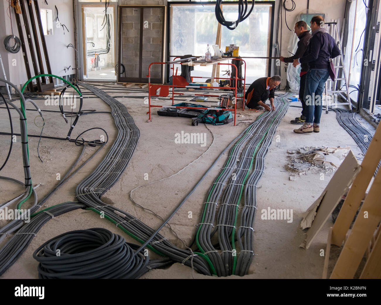 Layout of electrical wiring in the construction of a new home in ...