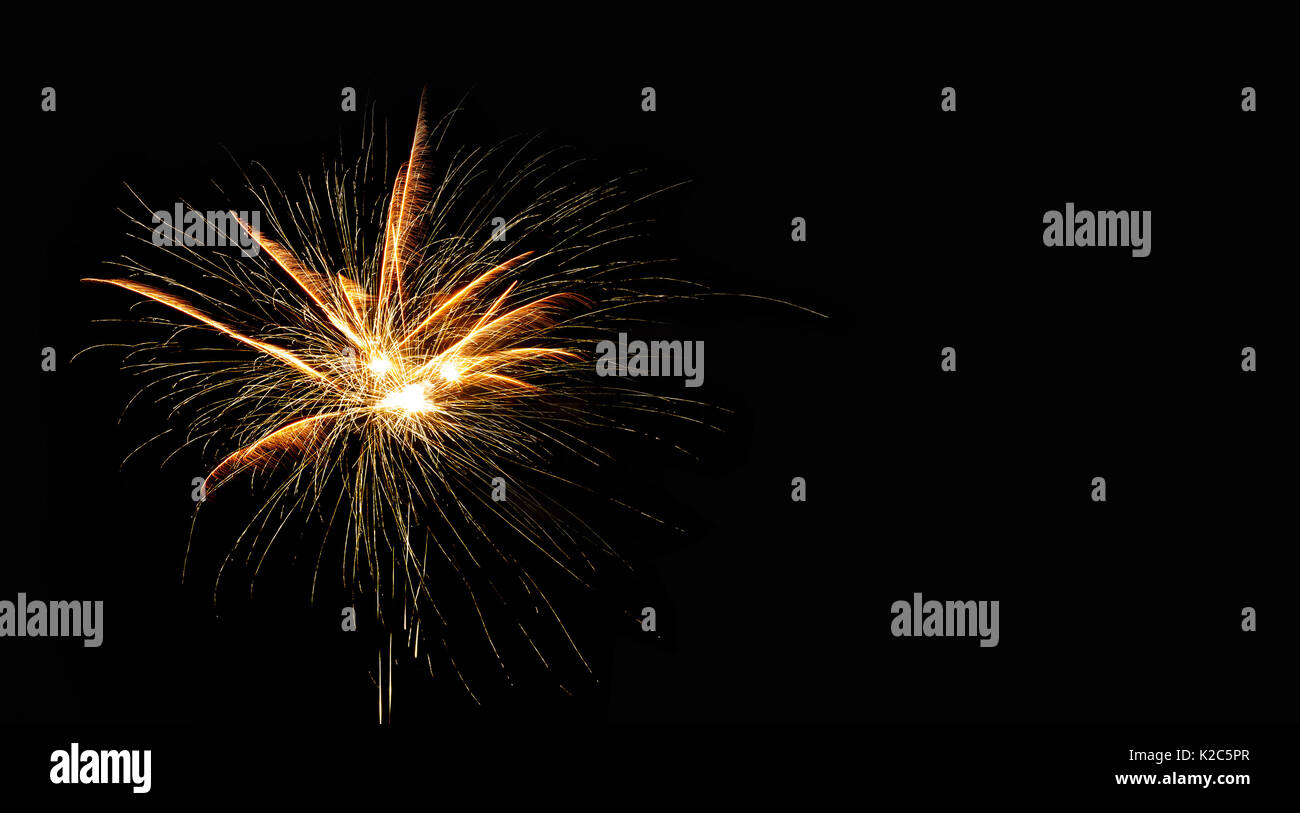 abstract pyrotechnic glowing explosion on black background fireworks landscape golden flash festival card design template copy space