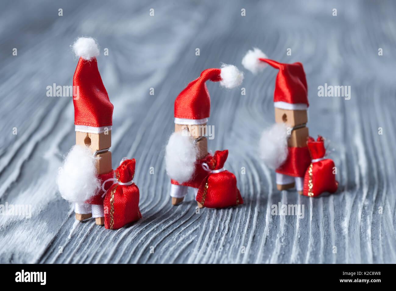 Merry Xmas postcard design funny character Santa Claus. Walking ...