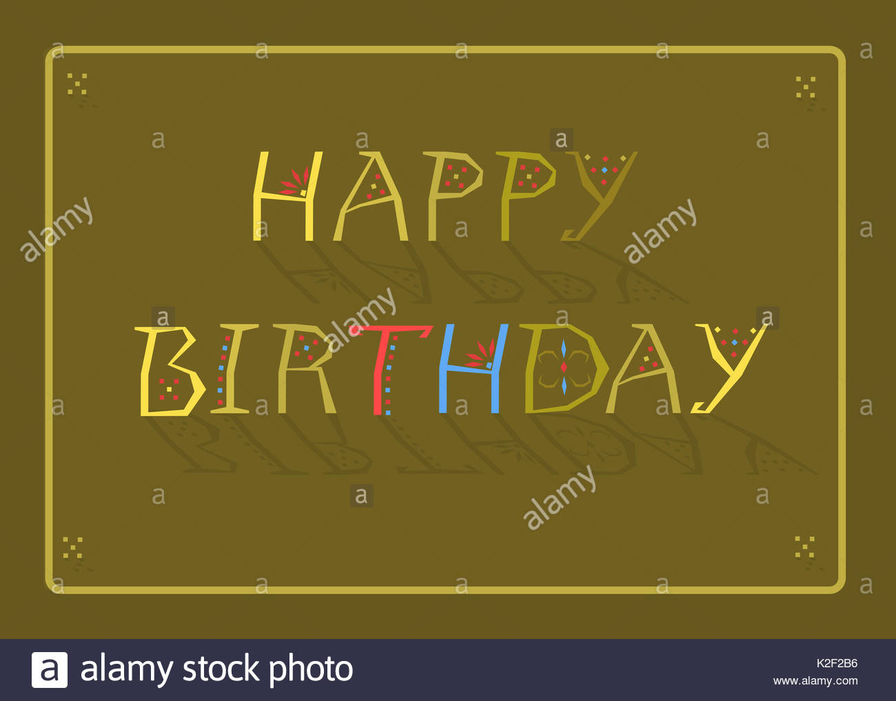 happy birthday inscription by artistic font green background yellow frame yellow letters with geometric decor letter t is red letter h is blue