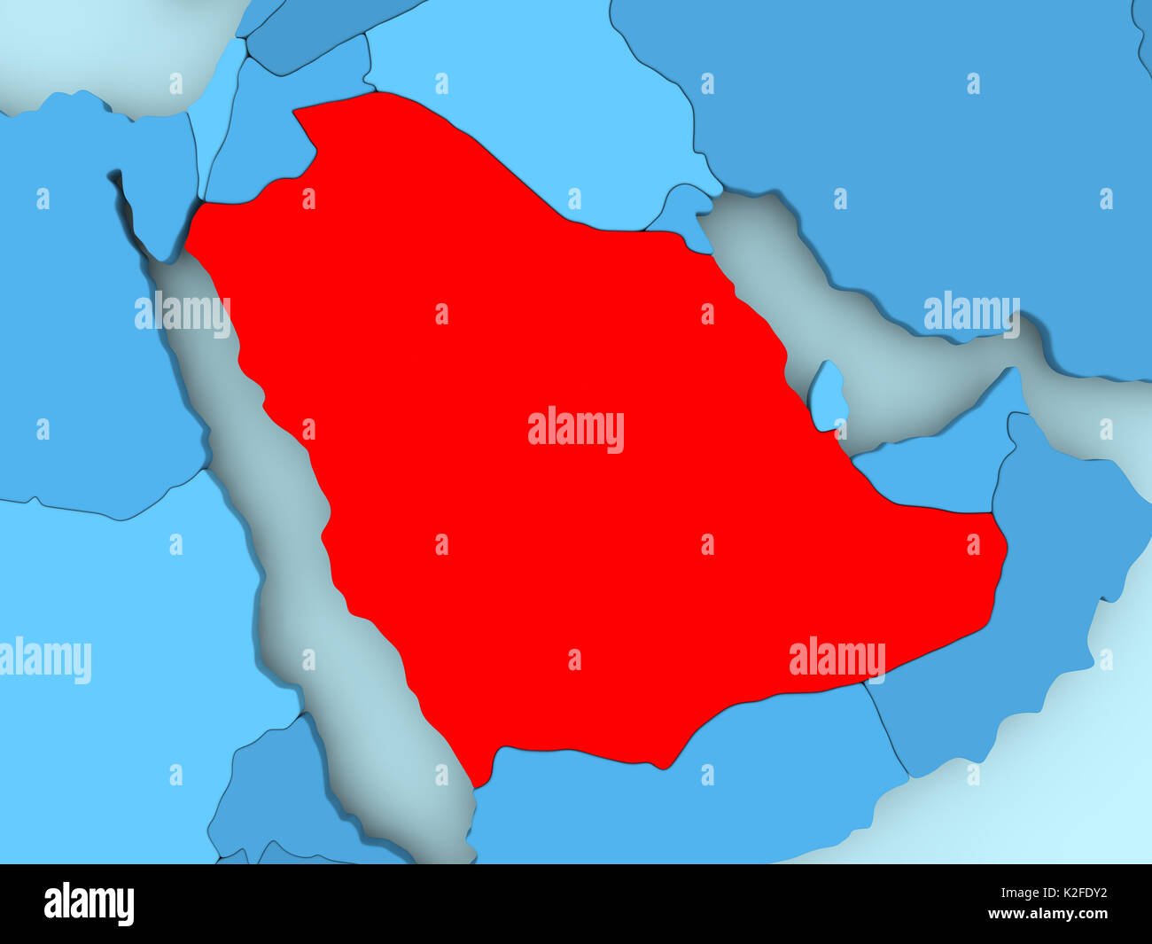 Saudi arabia in red on blue political map 3d illustration stock saudi arabia in red on blue political map 3d illustration gumiabroncs Images