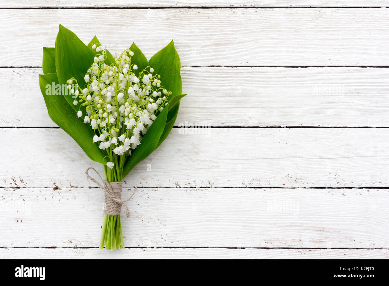 Bouquet Of Lilies Of The Valley Flowers With Green Leaves Tied With