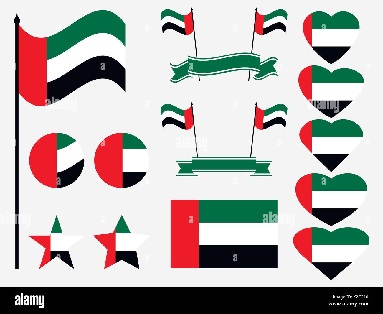 United Arab Emirates Flag Set Collection Of Symbols Flag In Heart
