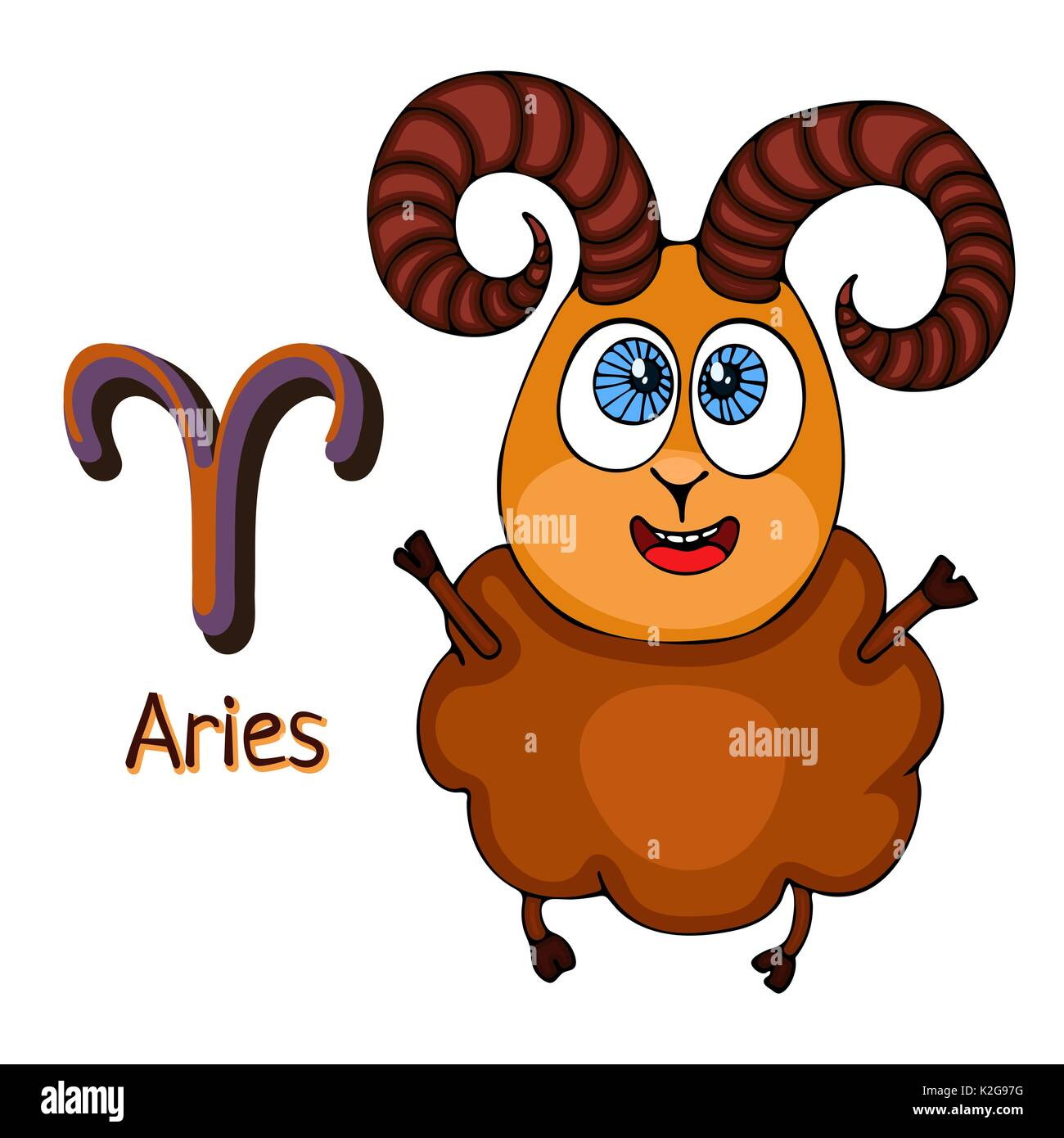 Zodiac sign cartoon aries astrological character painted funny zodiac sign cartoon aries astrological character painted funny aries with a symbol isolated on white background vector hand drawing biocorpaavc Gallery