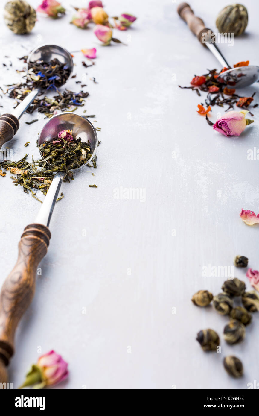 Background With Different Types Of Tea Leaves Stock Photo 156490464
