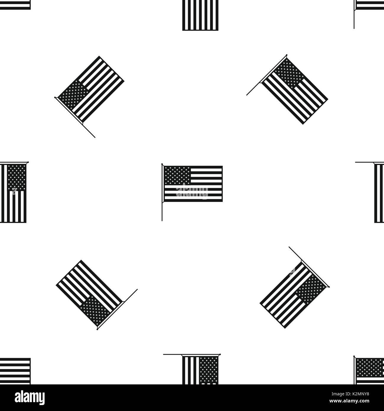 American Flag Pattern Seamless Black Stock Vector Art Illustration