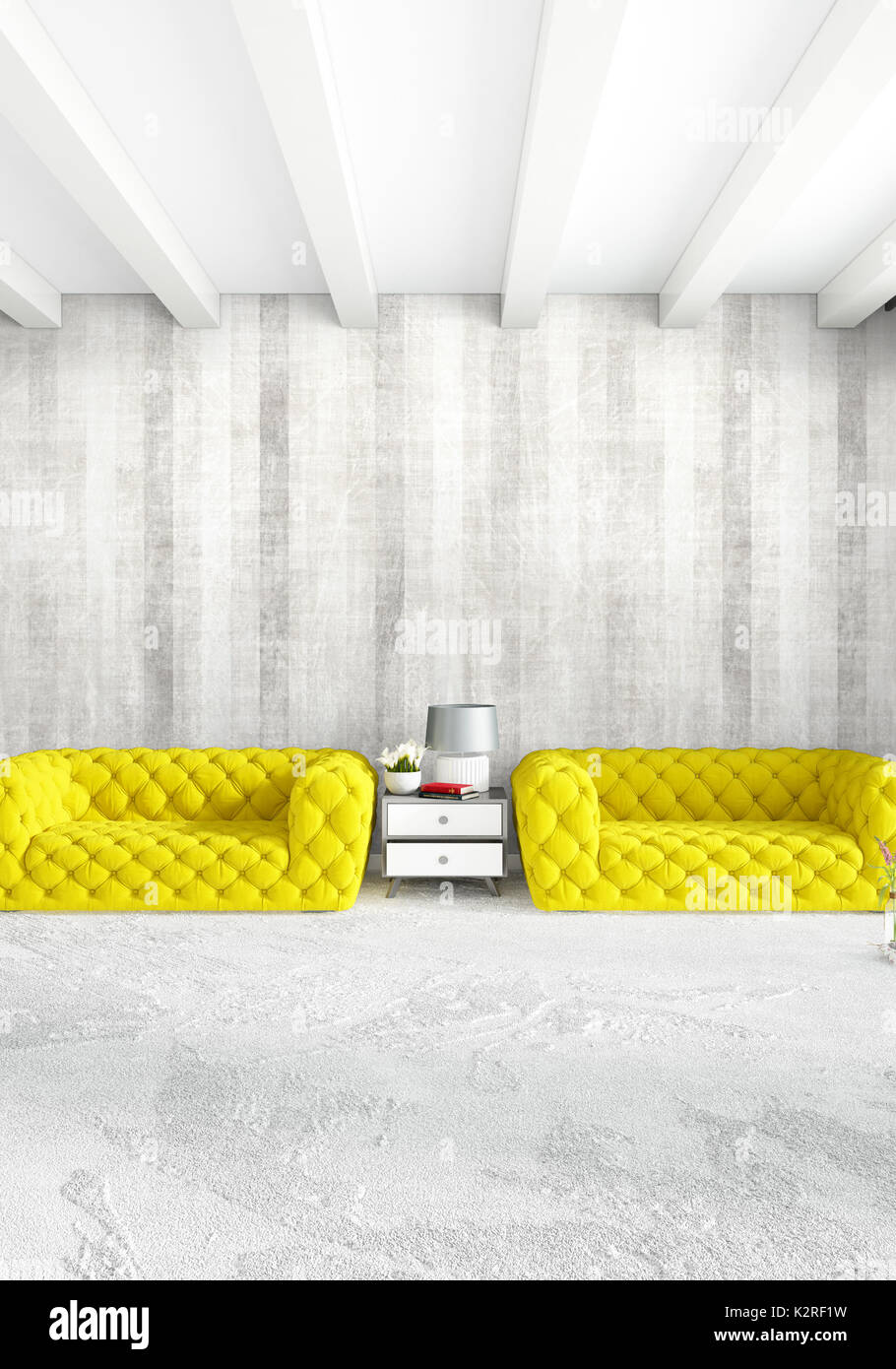 Modern loft interior bedroom or living room with eclectic wall with space 3d rendering