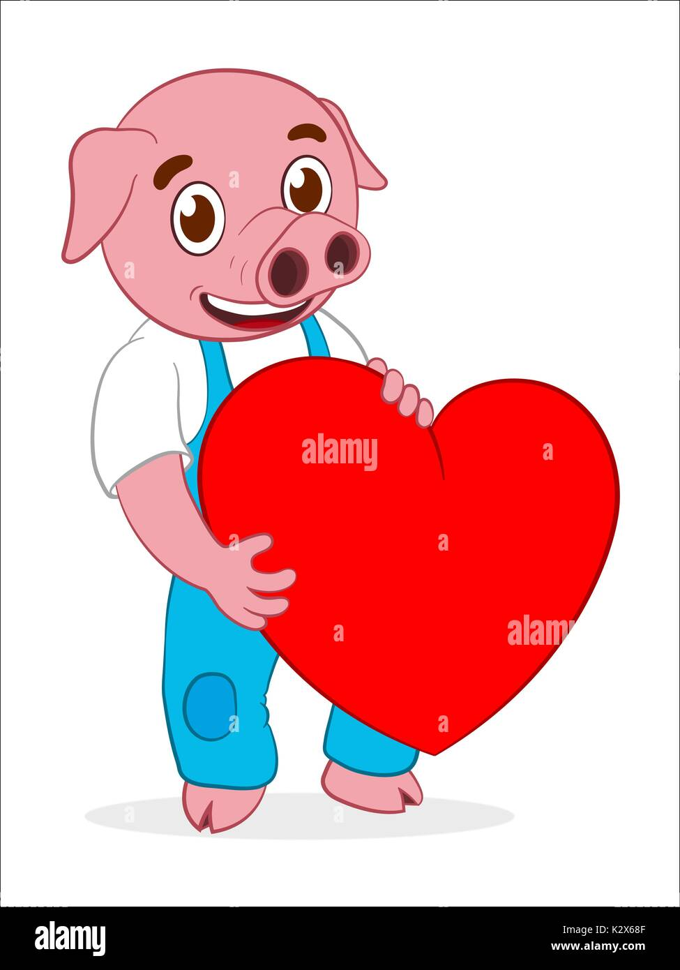 Happy Cute Cartoon Pig Holding Red Heart