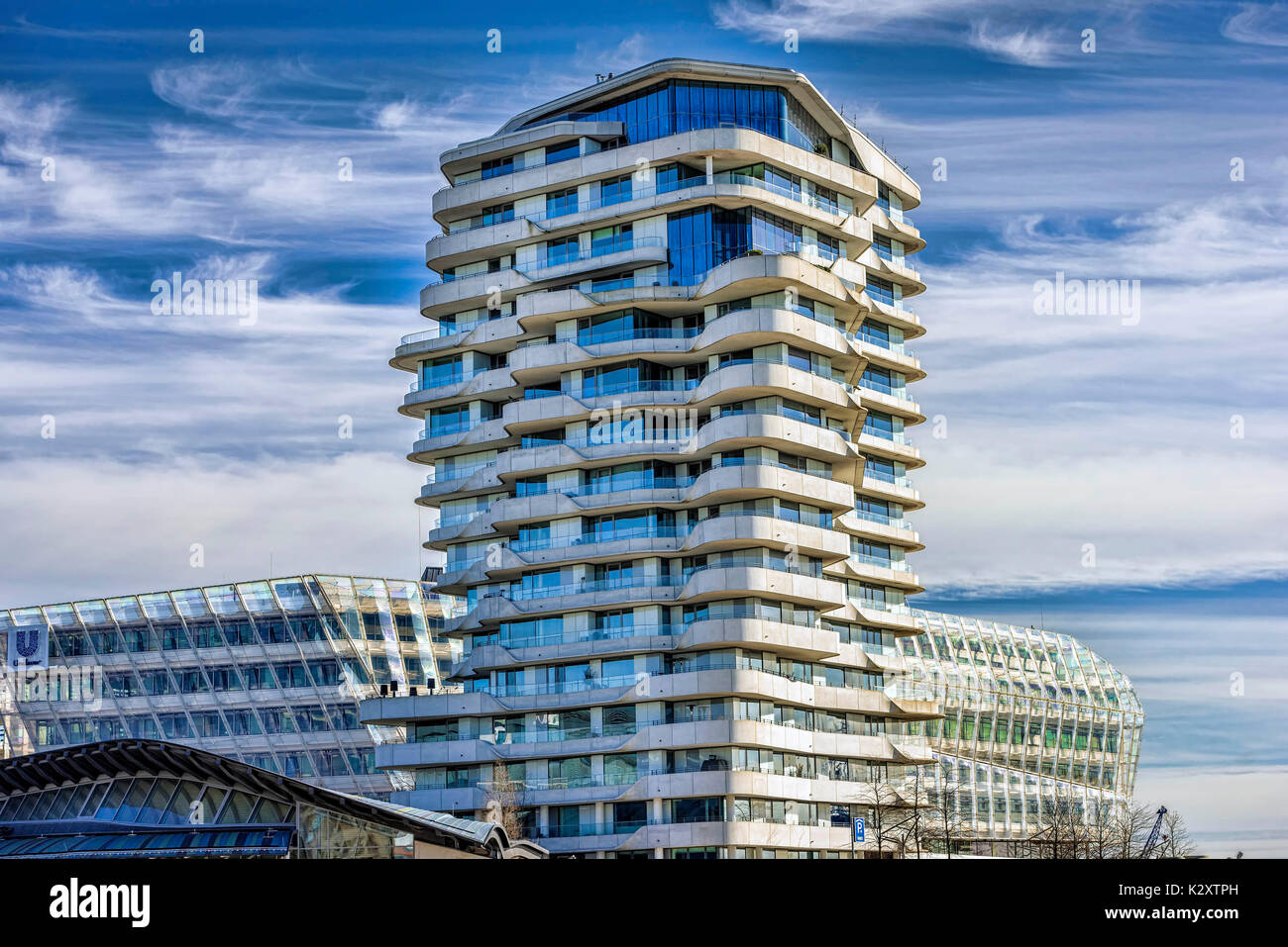 Marco-Polo-Tower in the harbour city of Hamburg, Germany, Europe ...