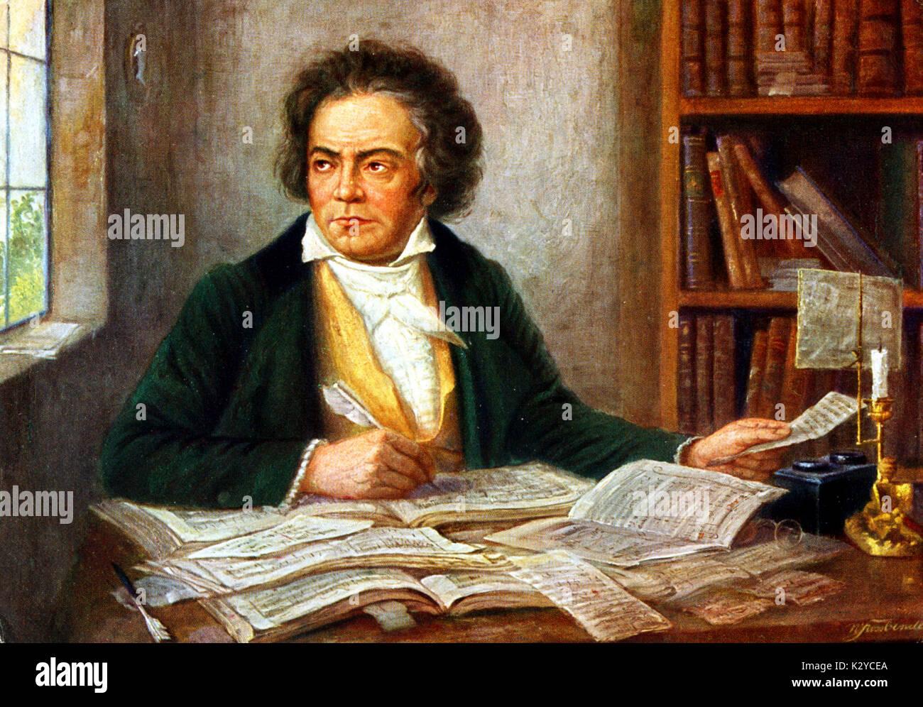 portrait ludwig van beethoven composing stock photos