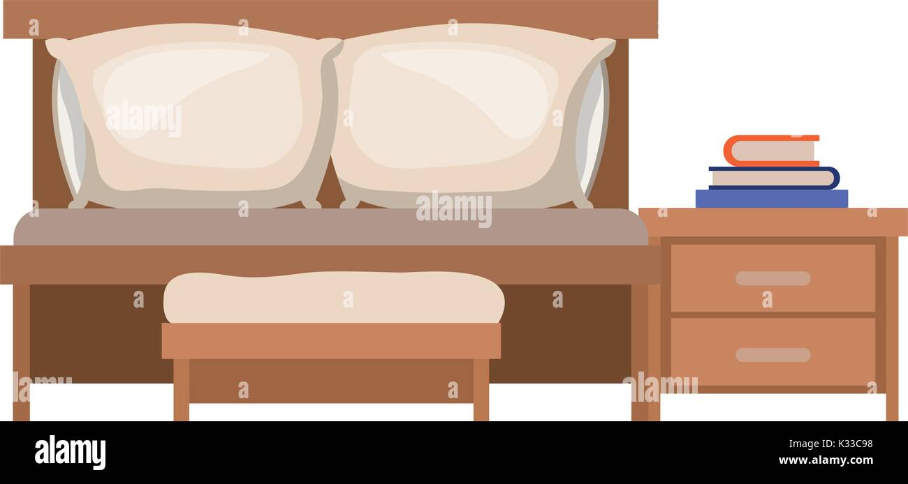 Bedroom With Sofa Bed And Books Over Nightstand In Colorful Silhouette On  White Background