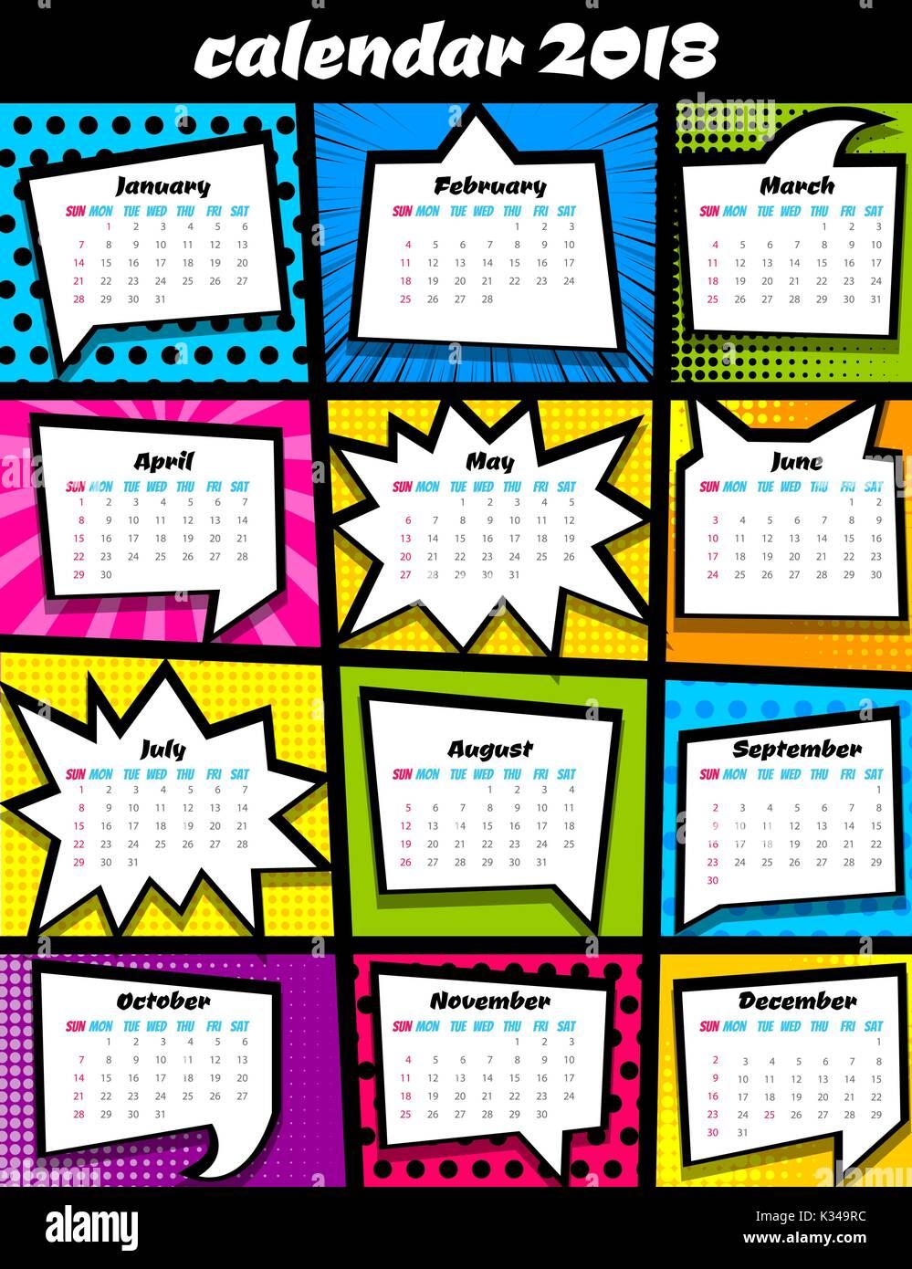 2018 calendar pop art template stock vector art illustration