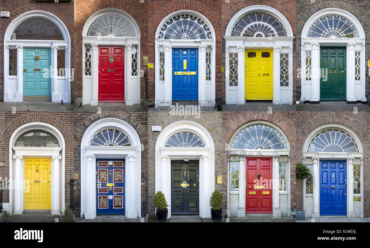 Collage Of Colorful Front Doors To Homes In Merrion Square Dublin
