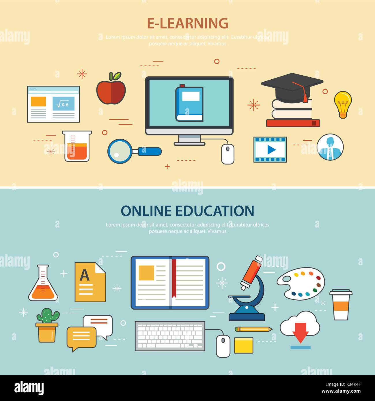 online education and e-learning banner flat design template Stock ...