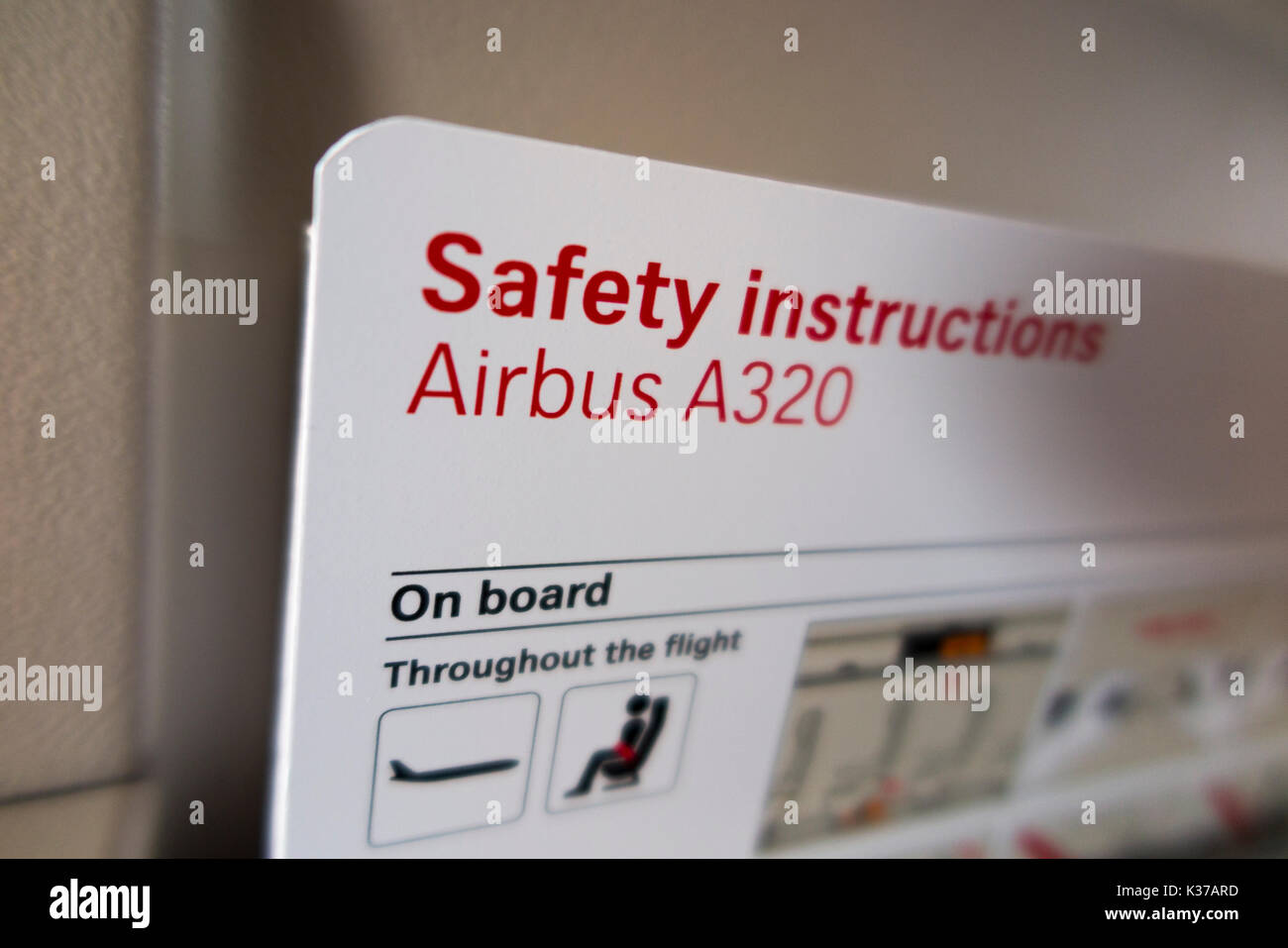 Aircraft Safety And Emergency Information Instruction Guide Card