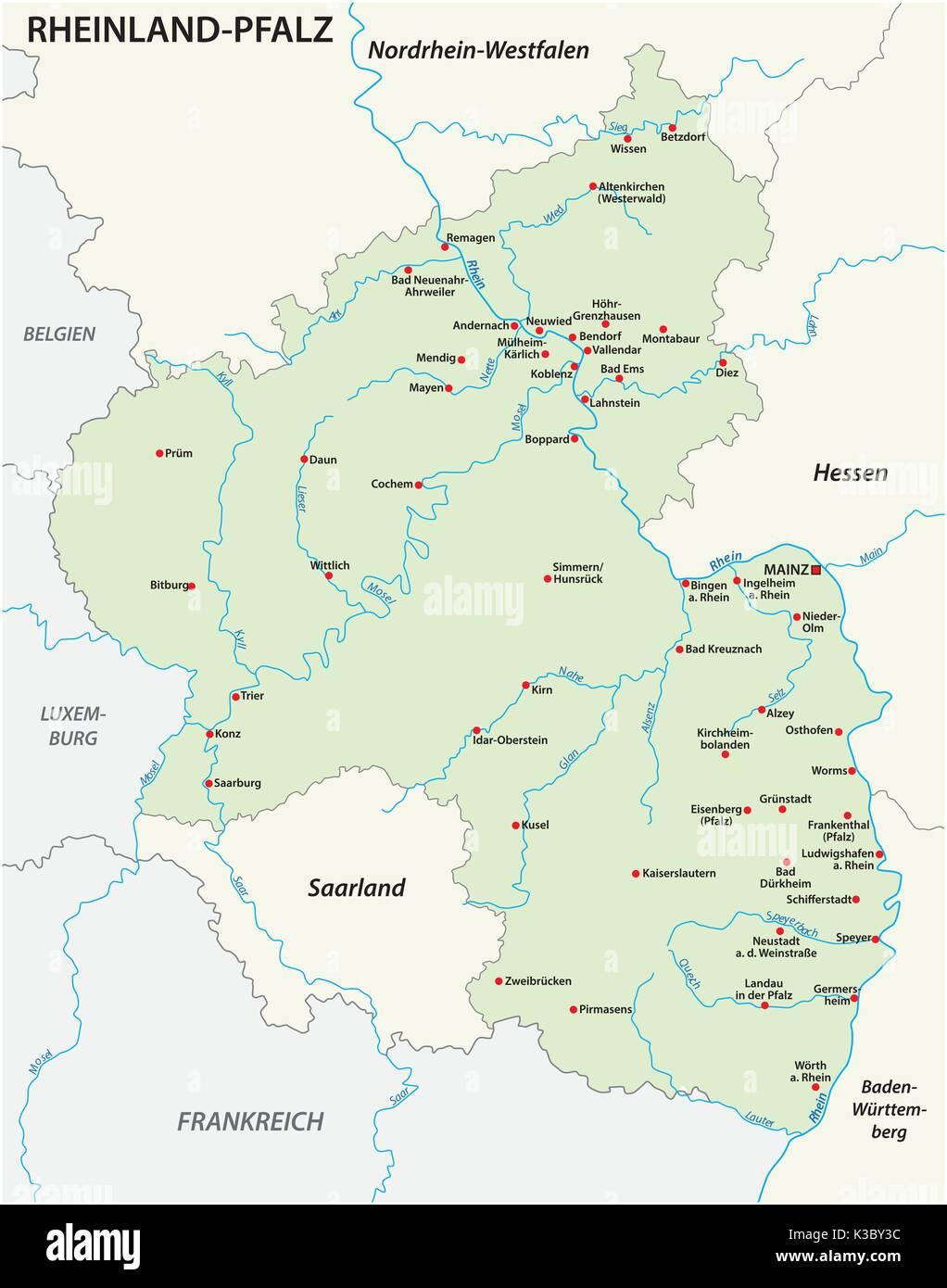Rhineland palatinate map in german language stock vector art rhineland palatinate map in german language gumiabroncs Images