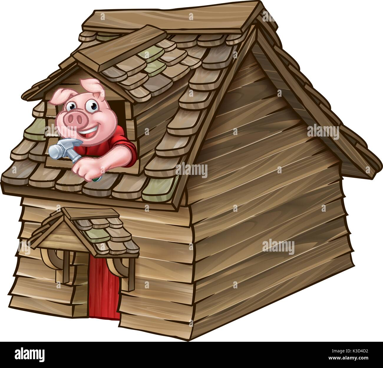 Three Little Pigs Fairy Tale Wood House Stock Vector Art ...