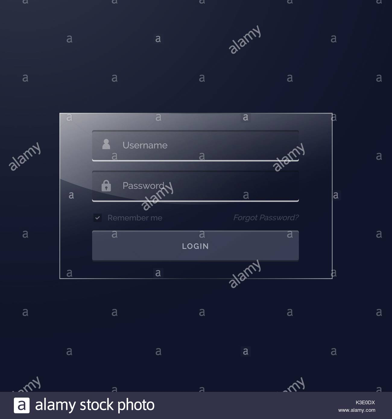 login template design in glass style and dark theme Stock Vector Art ...