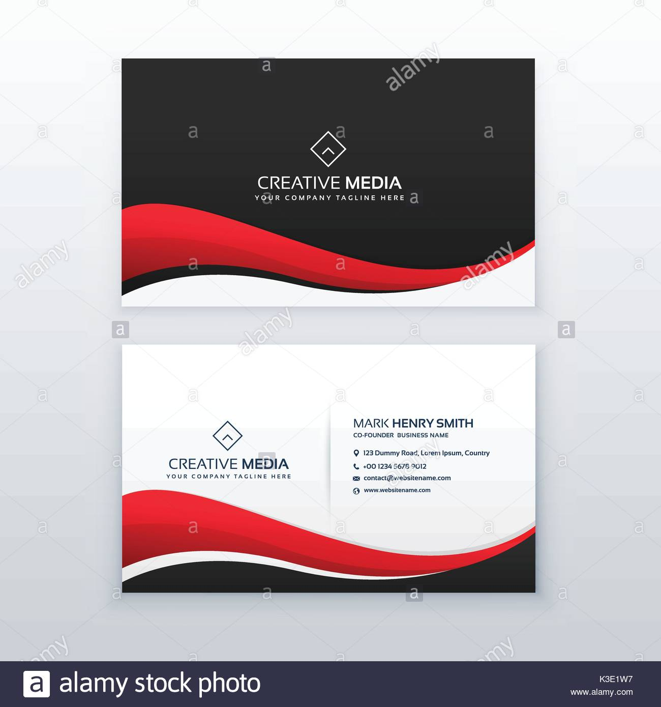 Clean business card design with red wave stock vector art clean business card design with red wave reheart Images