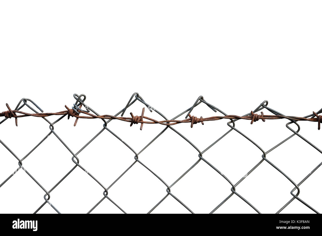 Barbed Wire Mesh Fence, Rust Barb Detail, Isolated Horizontal Rusty ...