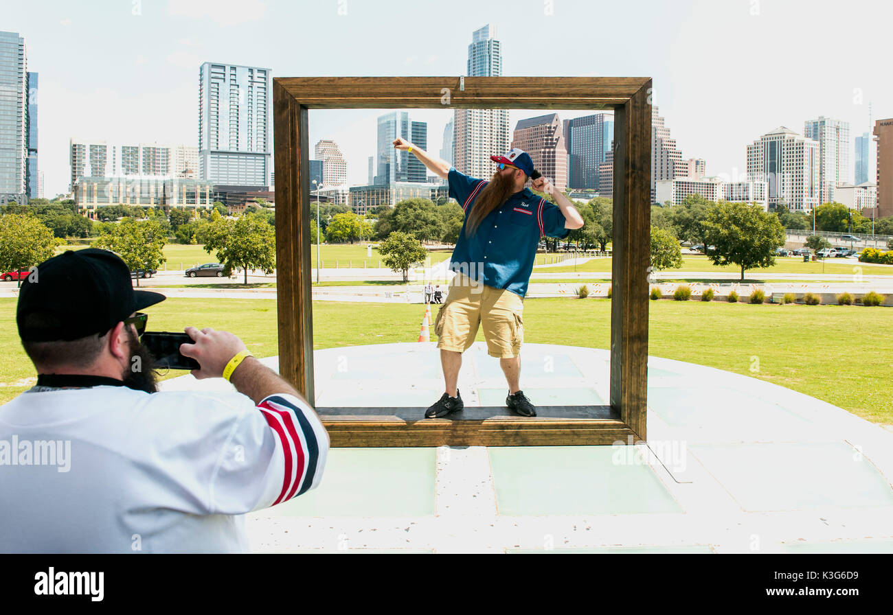 Austin, Texas, USA. 01st Sep, 2017. A contestant poses inside an ...