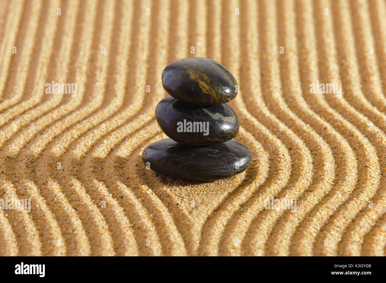 Japanese ZEN garden with yin and yang to stones in Sand Stock Photo ...
