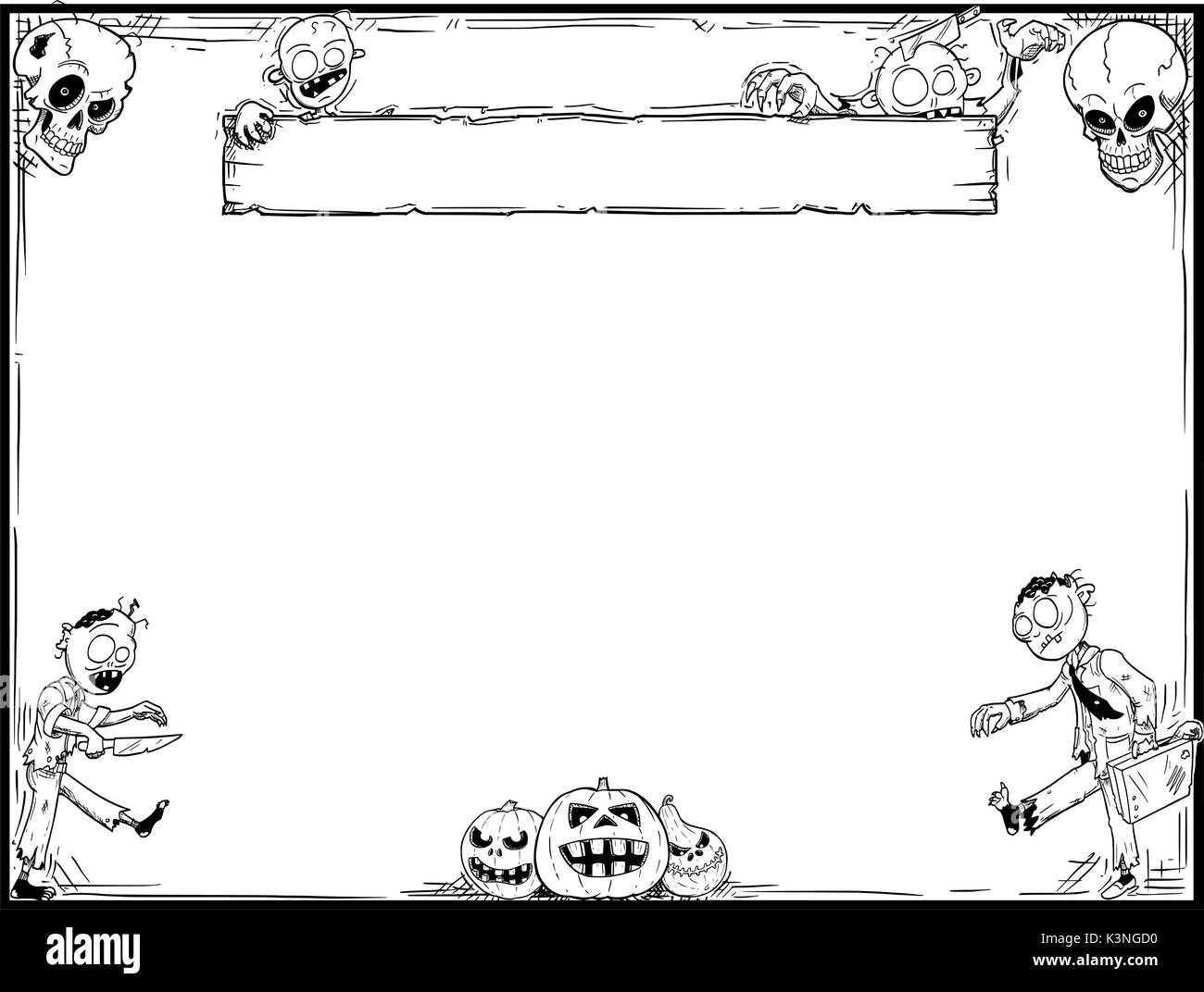 Hand drawing cartoon Halloween frame with cute zombie,skull and ...
