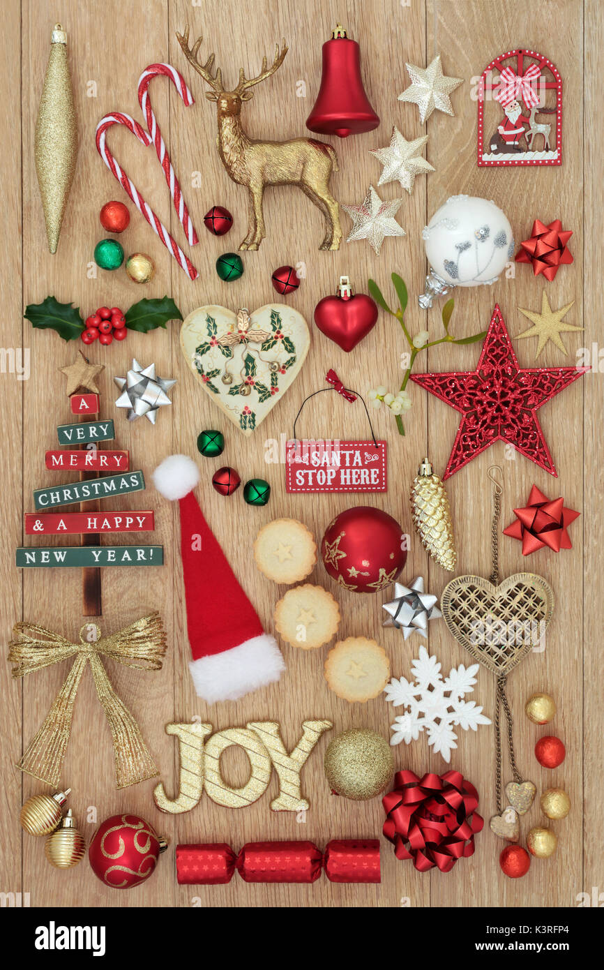 Christmas decorations with gold glitter joy sign, new and old Stock ...