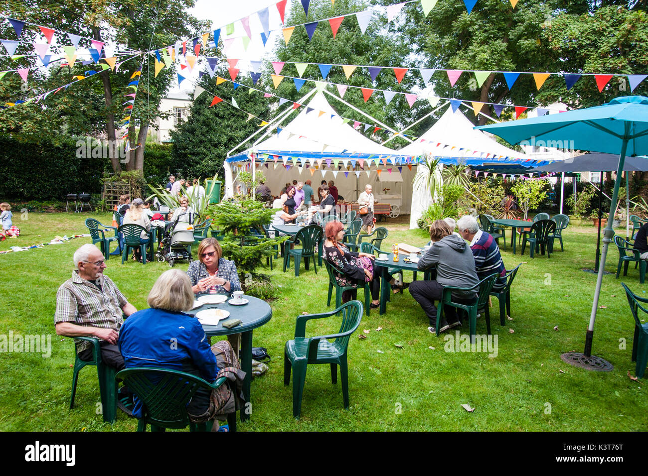 England Ramsgate Addington Street Fair. Afternoon tea on the lawn in Vale Square. People sitting at tables drinking teas and other drinks with Marque tent ... & England Ramsgate Addington Street Fair. Afternoon tea on the ...