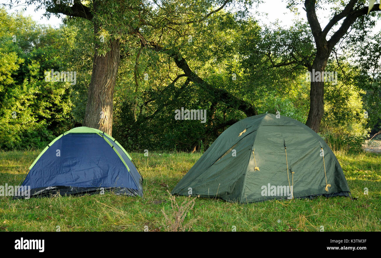 Two tents in the woods in the morning & Two tents in the woods in the morning Stock Photo Royalty Free ...