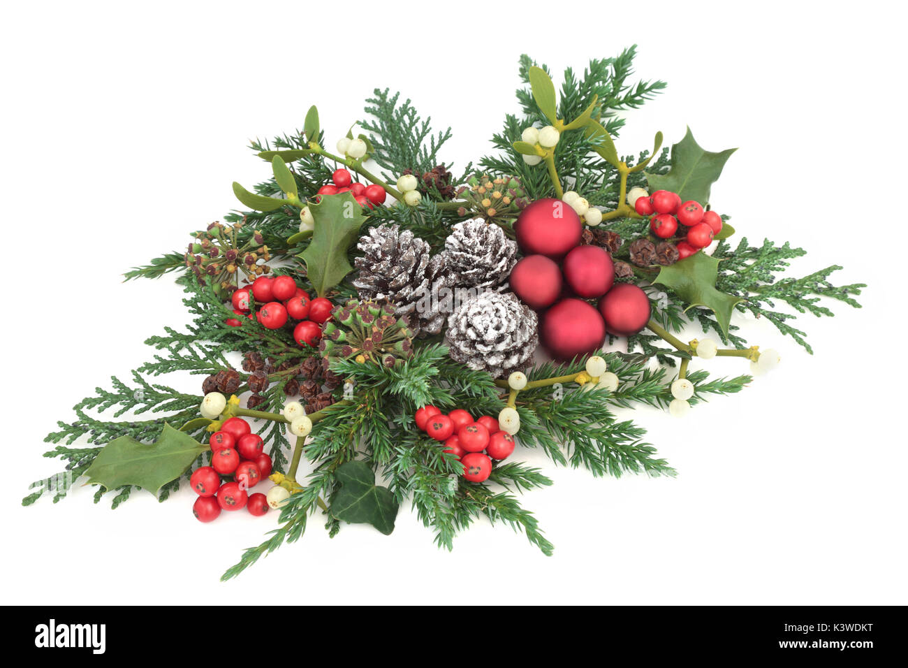 Christmas Fauna With Red Bauble Decorations Holly Ivy