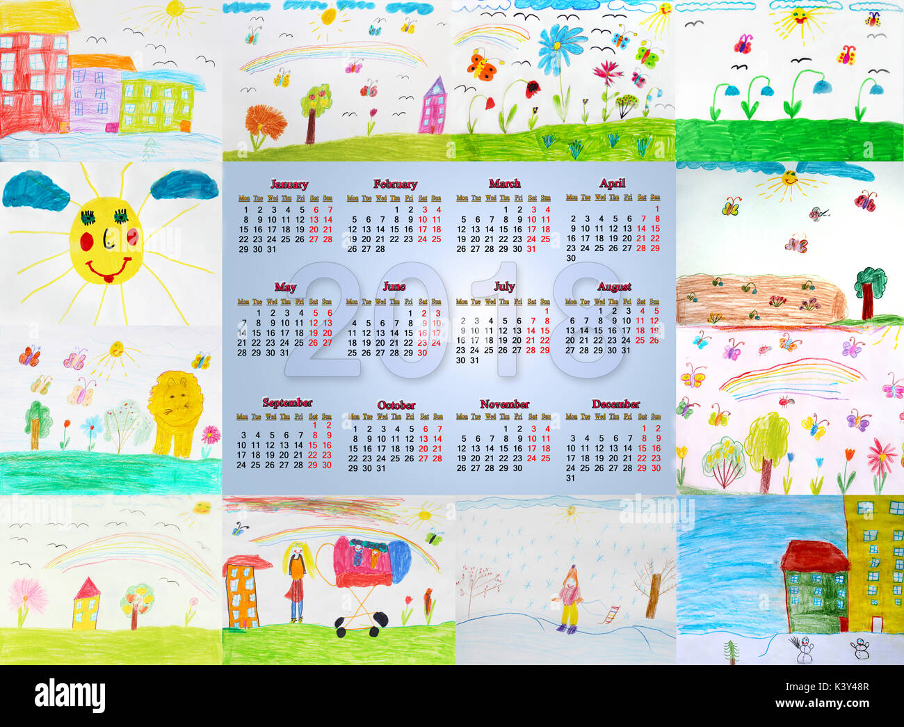 Drawing Calendar 2018 : Beautiful calendar for with different childish