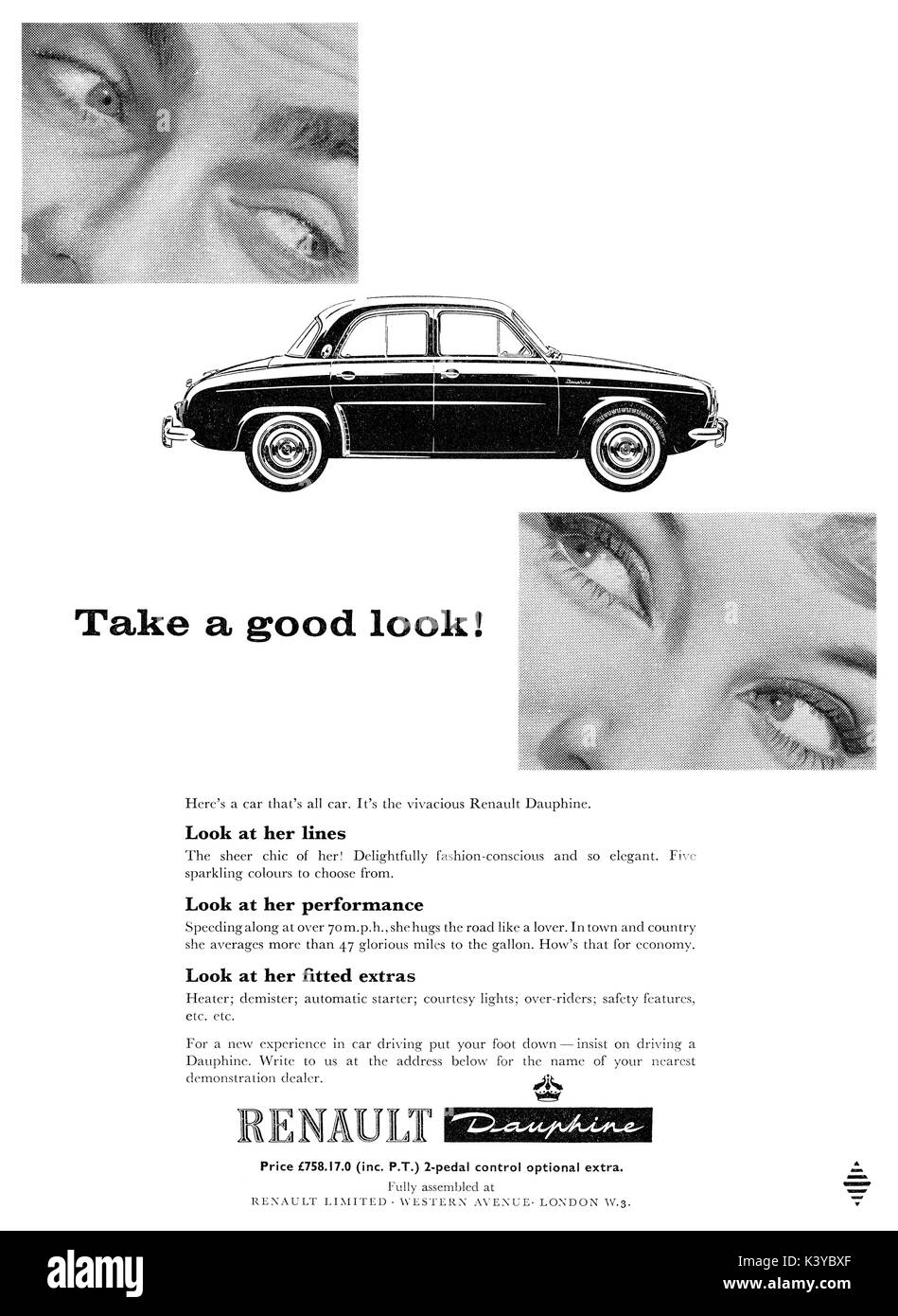 1959 British advertisement for the Renault Dauphine motor car ...