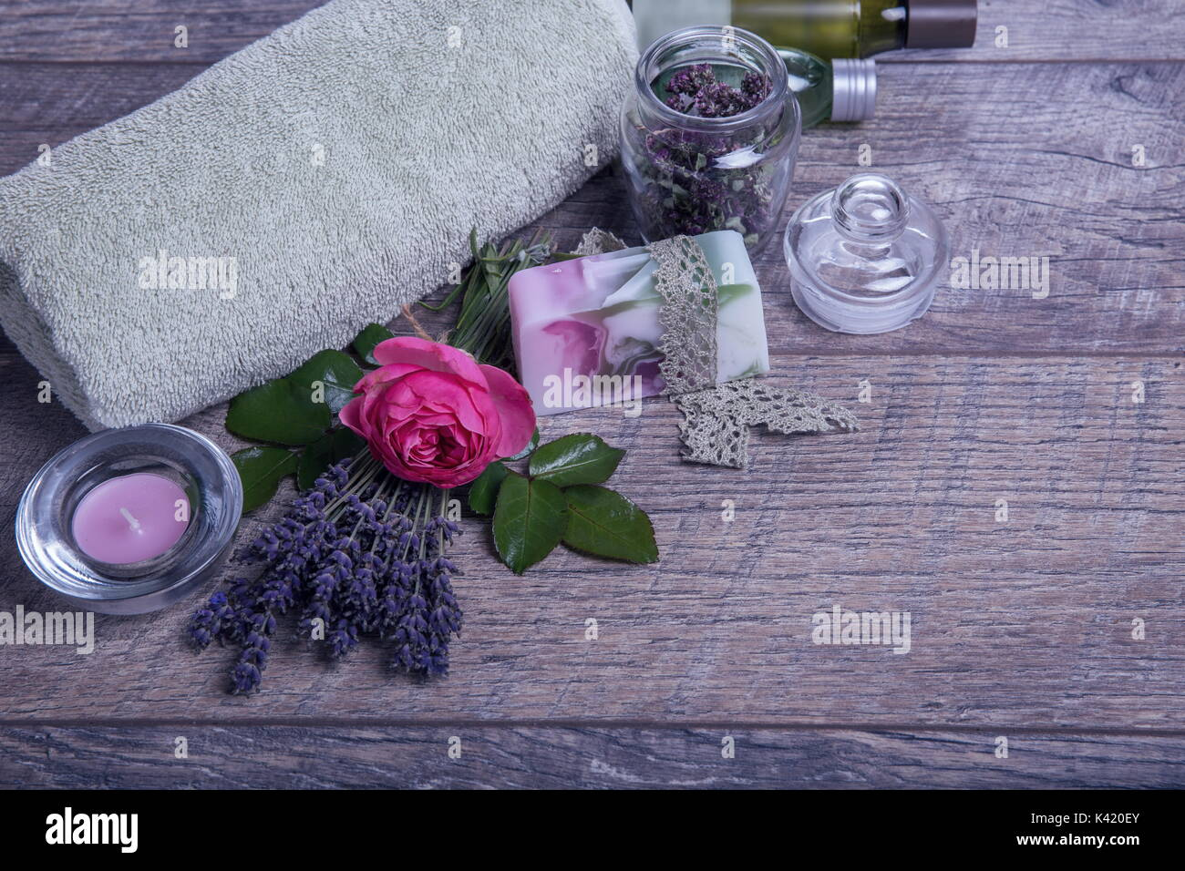 Handmade Soap with bath and spa accessories. Dried lavender and ...