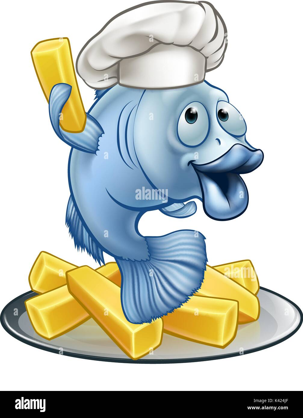 Fish N Chips Cartoon Characters : Fish and chips chef cartoon character stock vector art